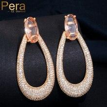 Pera роскошный Мирко паве Шампанский кубик циркония дуибаи золото длинные большие круглые Висячие серьги ювелирные изделия для женщин подарок E408