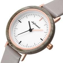 Часы наручные женские кварцевые с деревянным ремешком кожаным