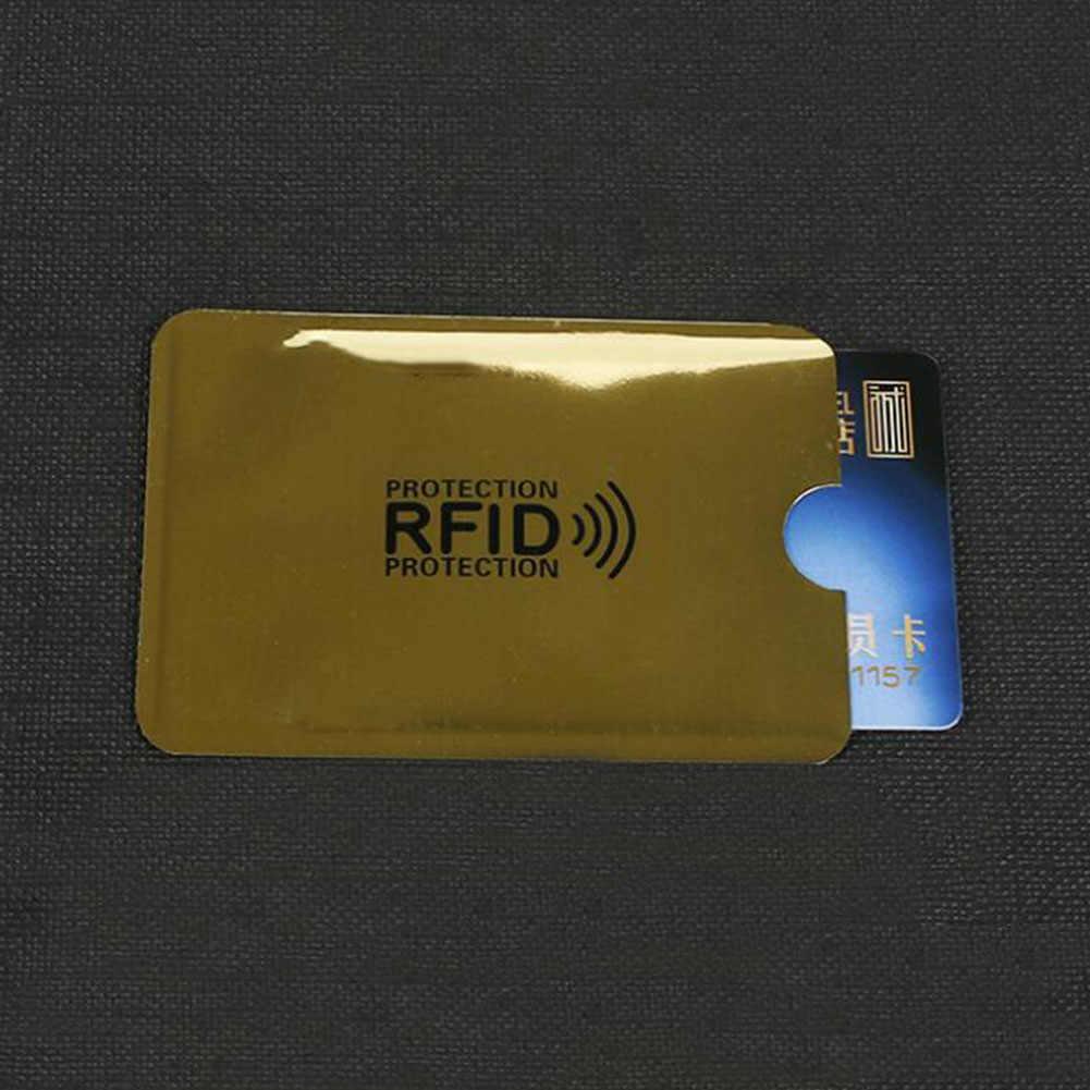 Silber Laser Aluminium Anti Rfid Brieftasche Blockieren Reader Sperren Bank Karte Halter ID Bank Karte Fall Business Schutz Metall Kredit