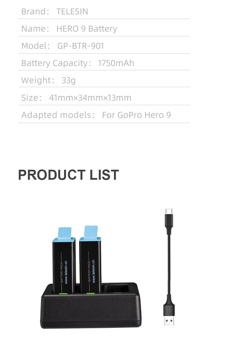 bateria para gopro hero 9 acessórios da câmera preta