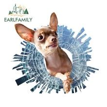 EARLFAMILY 13cm x 12.2cm Chihuahua Broken Glass Car Decal Cute Pet Dog Car Sticker Window Wall Decoration 3D Car Styling