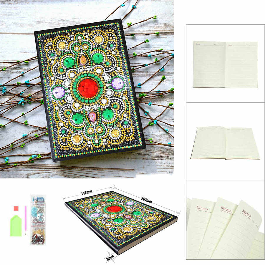 DIY Mandala flowerSpecial Shaped Diamond Painting 64 Pages A5 Notebook Diary Book Embroidery Cross Stitch Craft kid Gift