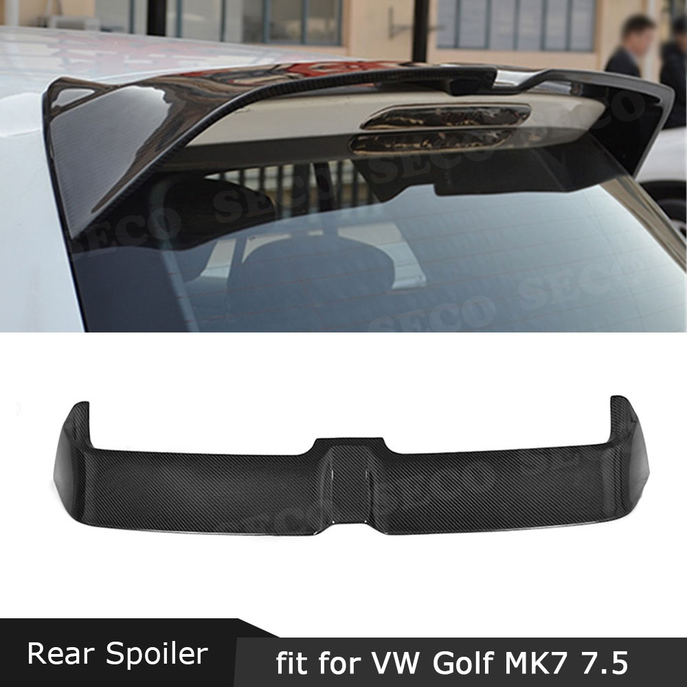 MK7 7.5 Carbon Fiber Rear Roof Spoiler for VW <font><b>Golf</b></font> 7 7.5 VII MK7 Standard GTI <font><b>R</b></font> 2014-2019 FRP O Style Tail Trunk Wings image