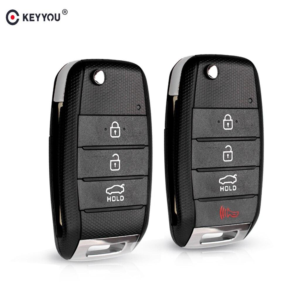 KEYYOU 3/4 bouton rabattable à distance clé coque housse Fob remplacement pour KIA Carens Cerato Forte RIO K2 K3 K5 voiture Fob couverture