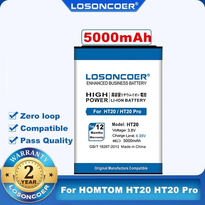 100% Original LOSONCOER 5000mAh HT20 For HOMTOM HT20 HT20 Pro Replacement Li-ion Phone Battery Batterie Bateria Accumulator AKKU(China)