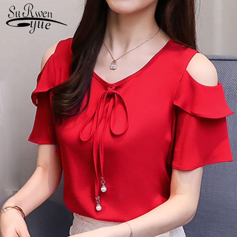 2019 Fashion Bow V-neck Sweet Women's Clothing Summer Short Sleeve Chiffon Women Shirt Blouses Red Women's Tops Blusas D667 30