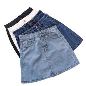 Image 2 - Lucyever Fashion Korean Spring Summer Women Denim Skirt High Waist Mini Skirts Jeans Plus Size Harajuku Cotton Girls Black Skirt