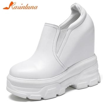 KARINLUNA Fashion Genuine Leather Female Spring Pumps Round Toe Increasing Height Slip On Office Women Pumps Women Shoes