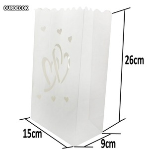 Image 5 - 50 Pcs 25cm White Paper Lantern Candle Bag For LED light Lampion Heart For Romantic Birthday Party Wedding Event BBQ Decoration