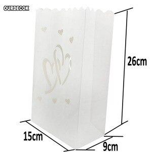 Image 5 - 50 stuks 25cm Wit Papier Lantaarn Kaars Zak Voor LED licht Lampion Hart Voor Romantische Verjaardag Bruiloft Event BBQ Decoratie