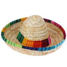 Соломенная шляпа для домашних животных многоцветная отделка