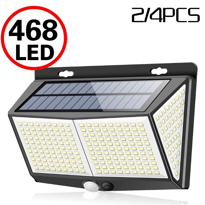 468 LED lampa słoneczna czujnik ludzkiego ciała 288 lampa słoneczna IP65 światło zewnętrzne automatyczna regulacja jasności światło ogrodowe