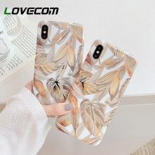 Funda de teléfono LOVECOM para iPhone 11 Pro Max XR XS Max 6 6S 7 8 Plus X electrochapado Vintage hoja de oro suave IMD cubierta trasera de cuerpo completo