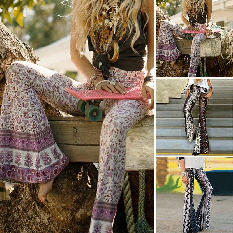 Hirigin Hot Selling Causal Women's Boho Style Hippie High Waist Printed Wide Leg Long Flared Bell Bottom Pants Trousers