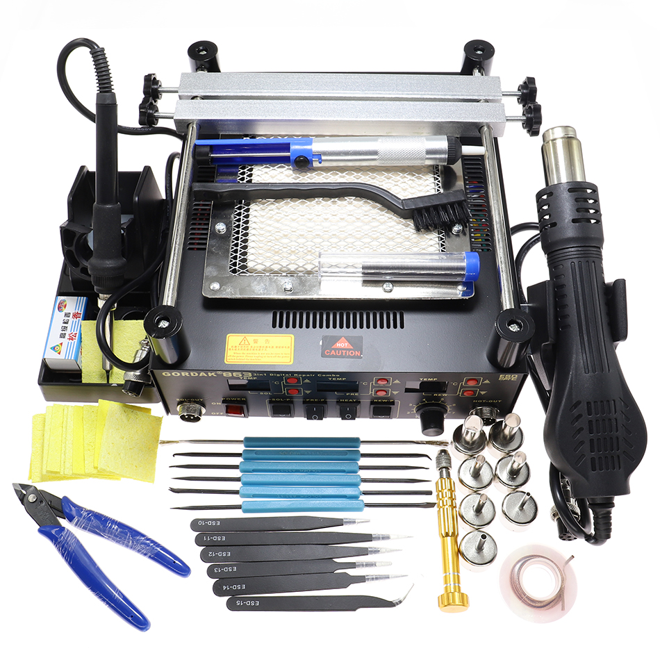 Tools : Gordak 863 3 in 1 Hot Air Heat Gun BGA Rework Solder Station Electric Soldering iron with blow dryer IR Infrared Preheating Stat