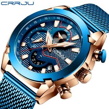 CRRJU спортивные часы с хронографом, минималистичные повседневные Стальные наручные часы, мужские Модные спортивные водонепроницаемые часы ...