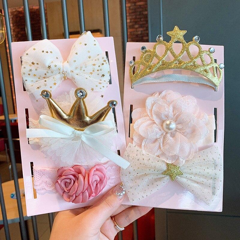 3 шт./компл. кружевное платье с цветочным рисунком для детей, повязка на голову, повязка для малышей с пайетками Корона Луки новорожденных по...