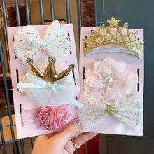 3 Pçs/set Laço Da Flor Do Bebê Headband do Coroa De Lantejoulas Arcos Newborn Faixa de Cabelo Infantil Princesa Meninas Elastic Hairband Headwear
