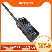 Walkie talkie digital retevis rt52, rádio digital ptt, banda dupla, dmr vhf e uhf, com gps, dois canais, criptado ham rádio amador + cabo