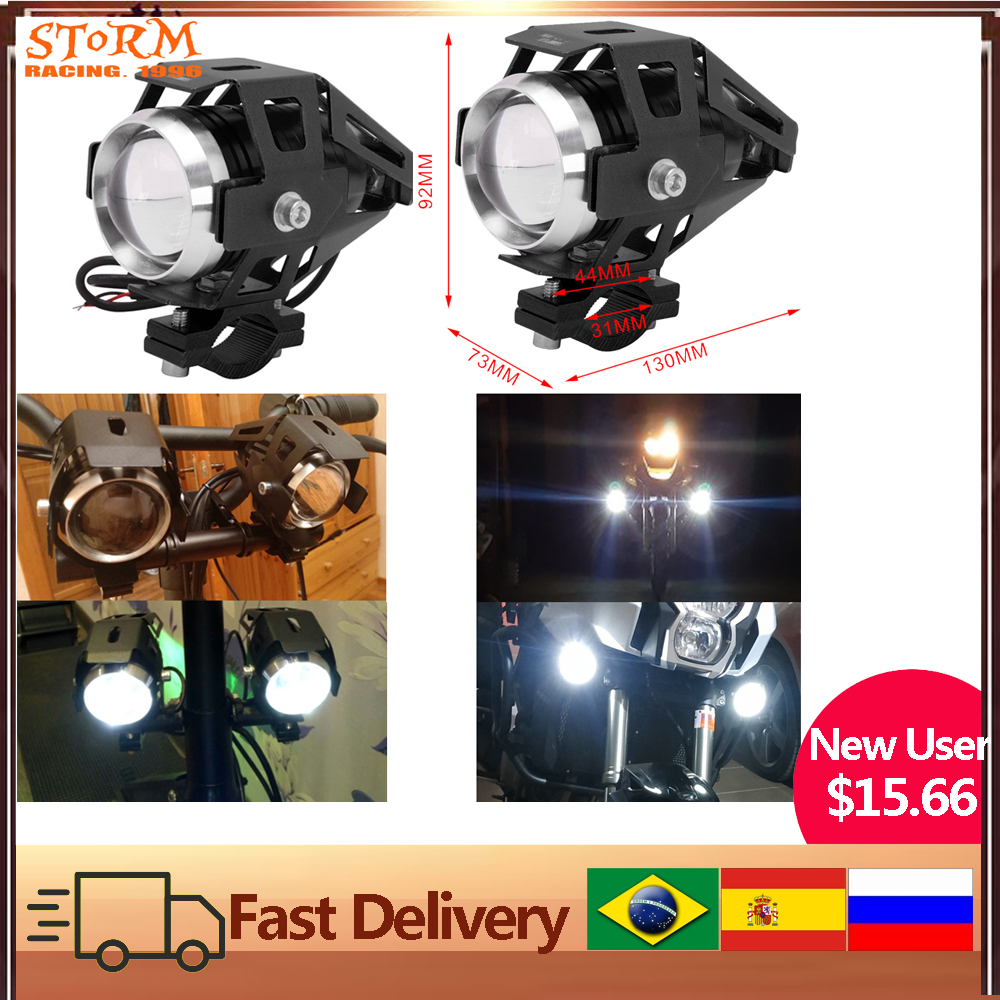 2PCS Motorcycle 125w LED Unversial Auxiliary Lamp Headlight Laser Cannon Waterproof High Power Spot Light Accessories Range 200m