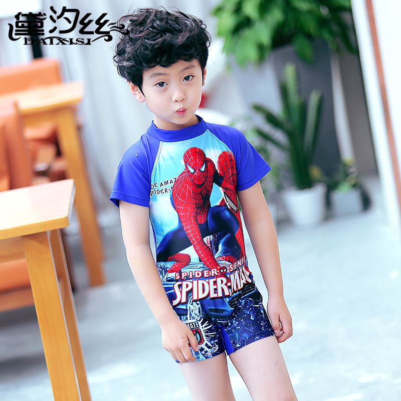 Dai Xi Si 2019-Tour Bathing Suit BOY'S One-piece Cartoon Spider-Man Hooded Half Sleeve One-piece Boxer Boy Bathing Suit