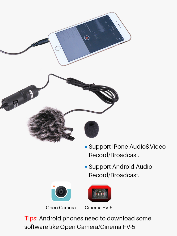 BOYA BY-M1 3.5mm Audio Video Record Lavalier Lapel Microphone Clip On Mic for iPhone Android Mac DSLR Podcast Camcorder Recorder