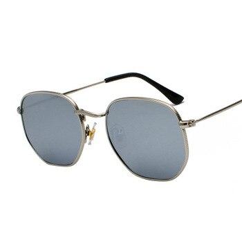 2020 Men Hexagon Sunglases Women Brand  Driving Shades Male Sunglasses For Men's Glasses Gafas De sol UV400 - Silver