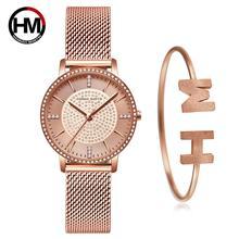 Conjunto de pulsera de cuarzo japonés para mujer, pedrería superior, marca de lujo, malla de acero, relojes de moda para mujer