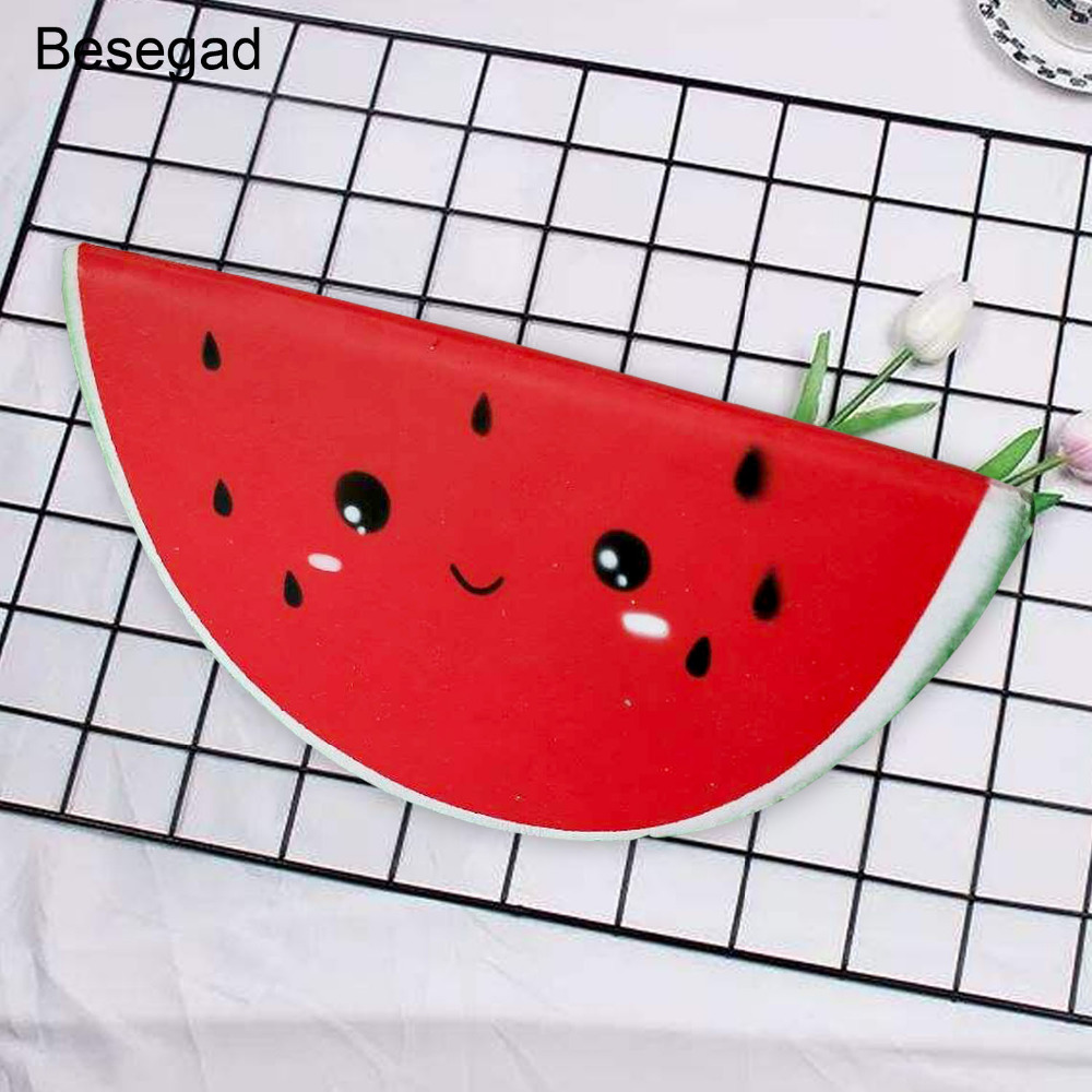 Besegad Soft <font><b>Big</b></font> Cute Kawaii Jumbo <font><b>Squishy</b></font> Watermelon <font><b>Fruit</b></font> Squeeze Squishi Super Slow Rising Toy for Relieves Stress Anxiety image