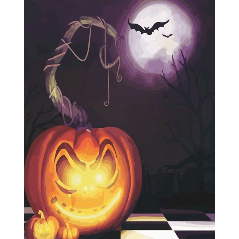 RUOPOTY Painting By Numbers DIY Halloween Jack-o\'- lantern Canvas Wedding Decoration Art picture Gift for children Home Decor-0