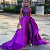 Purple Sequined Overskirt Jumpsuit Prom Dresses High Neck Appliqued Side Split Evening Gowns Lace Beads Sweep Train Formal Dress