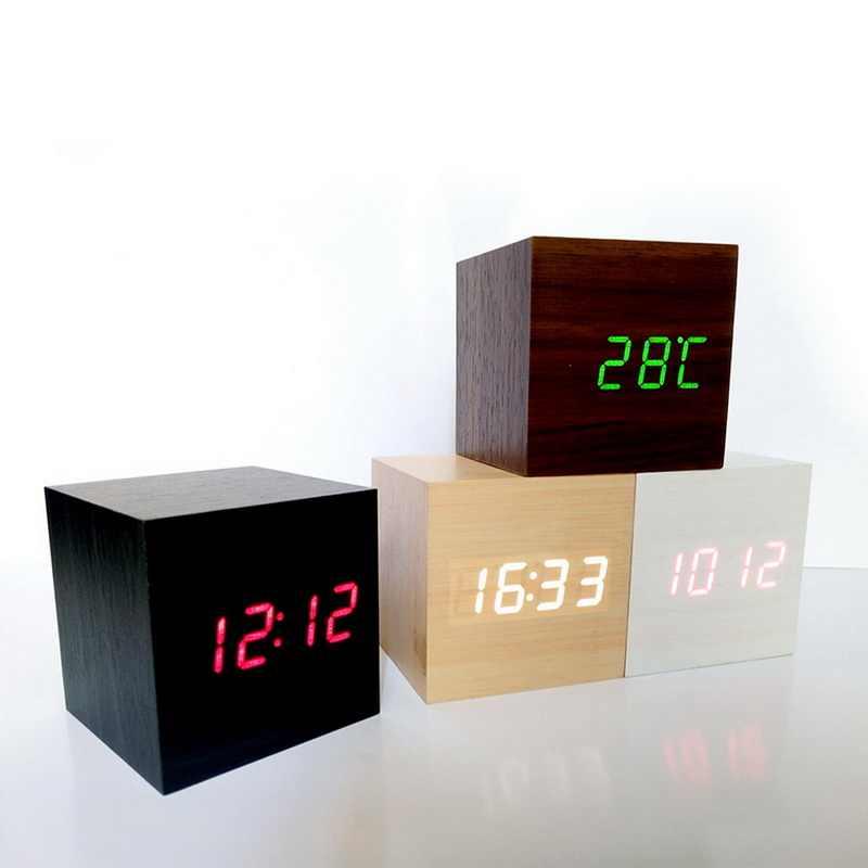 דיגיטלי מדחום עץ LED שעון מעורר תאורה אחורית קול שליטה עץ רטרו זוהר שעון שולחן עבודה שולחן זוהר שעונים מעורר