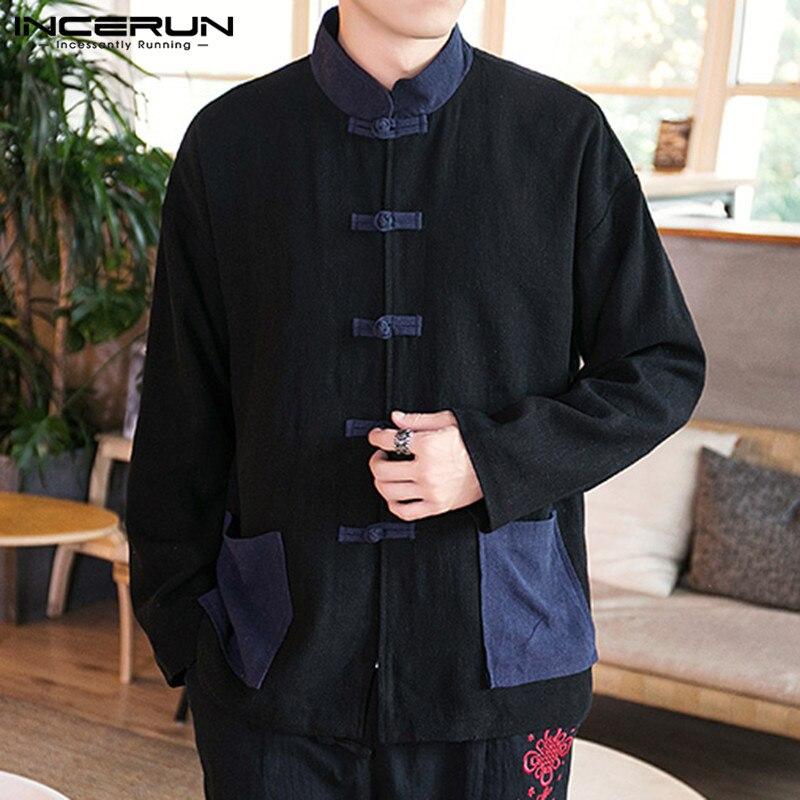 Chinese Traditional Men Casual Shirt Stand Collar Streetwear Pockets Vintage Button Elegant Shirt Men Long Sleeve Camisa INCERUN
