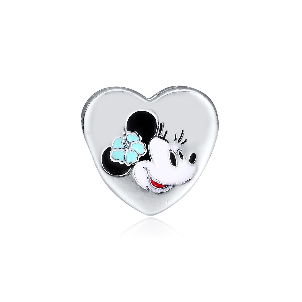 CKK Minnie with Hibiscus Flower Charms 925 Original Fit Pandora Bracelets Sterling Silver Charm Beads for Jewelry Making Bead