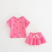 Childrenswear Girls Summer Short sleeved Set 2019 Five pointed Star Children Korean style Fashion Children Skirt Two Piece Set S