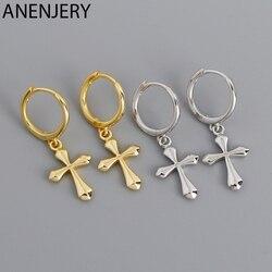 ANENJERY 925 Sterling Silver Cross Punk Hip-Hop Geometric Pendant Hoop Earrings for Women Gold Party Jewelry