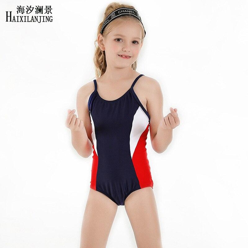 New Style KID'S Swimwear Girls Cute Sports Training Students Female Baby Holiday One-piece CHILDREN'S Swimsuit