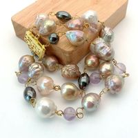 8 3 rows Multi Color Cultured Keshi Pearl Amethst Hematite Bracelet
