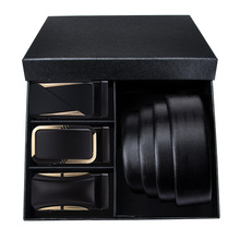 Solid Black Leather Belt for Men Barry.Wang Gold Automatic Buckle Genuine Leather Belts Alloy Fashion Buckle Men Belts Gift Box