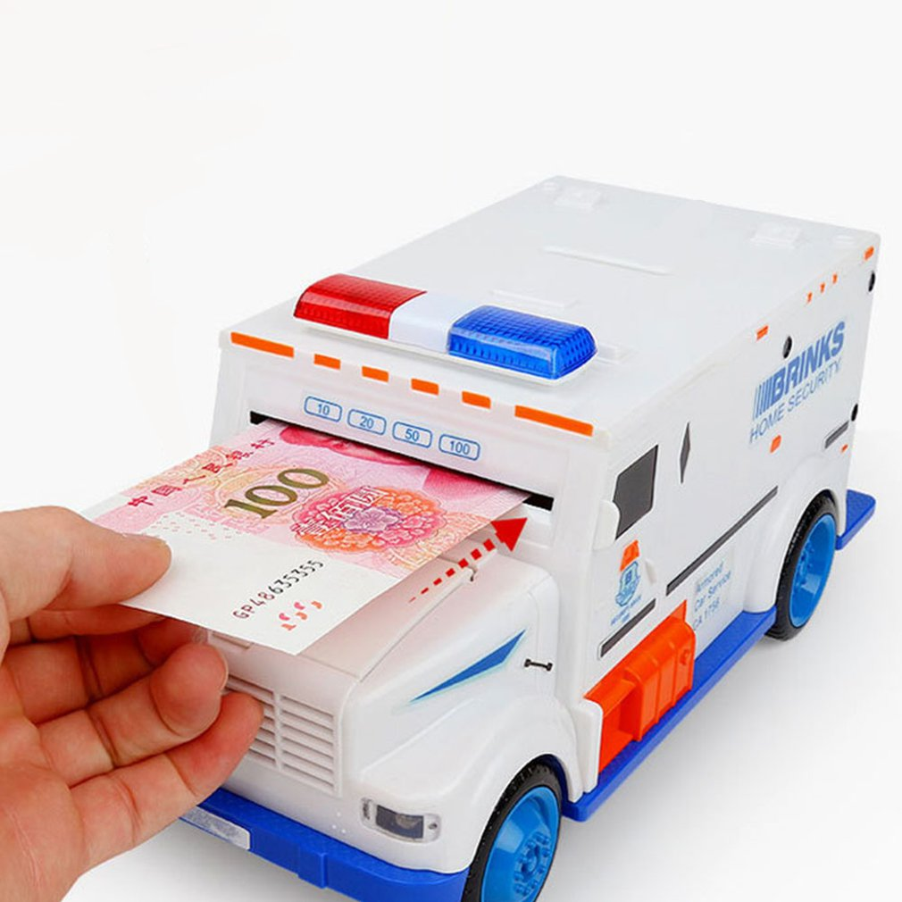 Electric Car Toy Electronic Piggy Bank Kids Boys Money Safe Box Jar Coins Cashes Bills Password Key Code ATM Saver Toy