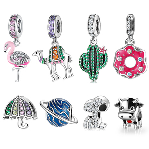 Hot 925 Sterling Silver Pink Sparkling CZ Flamingo Charms For jewelry making Pendants Fit Original Charm European Bracelets
