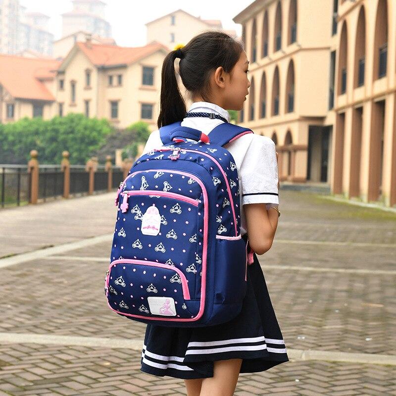 2019 New Elementary School Backpack Waterproof Burden Reduction Printing Princess girls Schoolbag Kids School Bags Children's