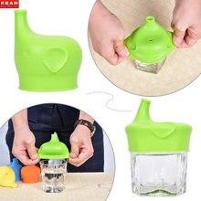 Couvercle de tasse en Silicone en forme d'éléphant, ventouse pour enfants, bouteille de boisson, capuchon anti-déversement, buse de bouteille d'eau douce, couverture de bouche