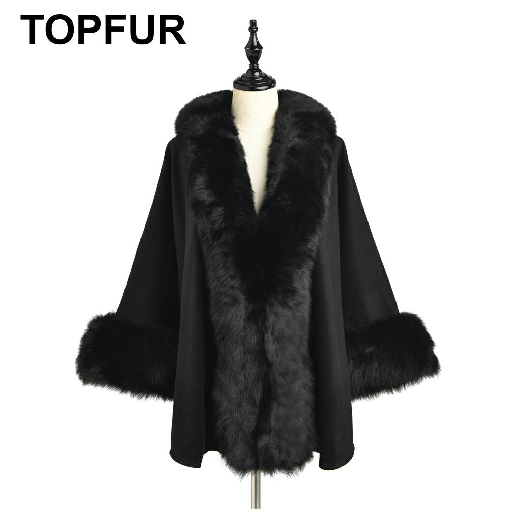 TOPFUR 2019 New Fashion Winter Female Cape Real Fur Cape For Women Three Quaeter Real Fox Fur Outerwear Bat Sleeved V-Neck Black