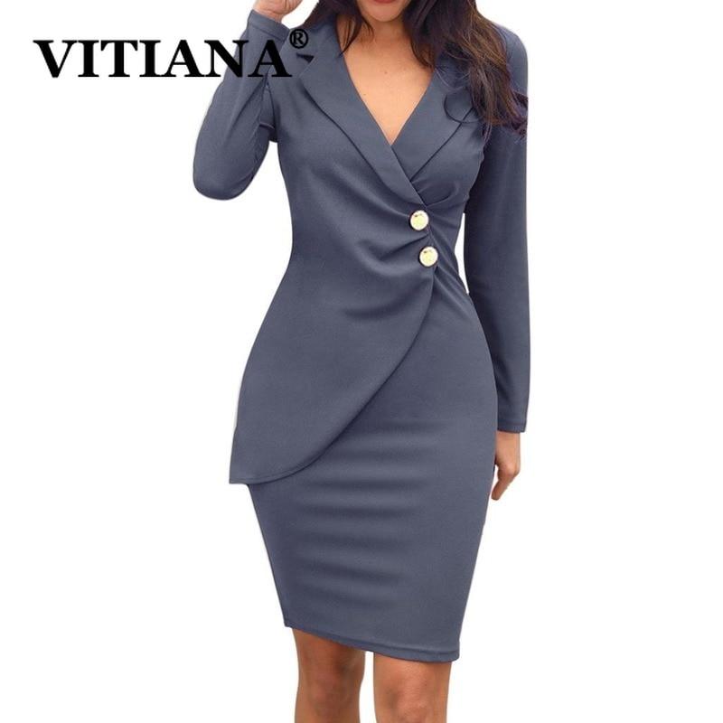 VITIANA Women Formal Dress Autumn 2019 Female Long Sleeve V-Neck Buttons Sexy Office Work Dresses Ladies Zipper Pencil Vestidos