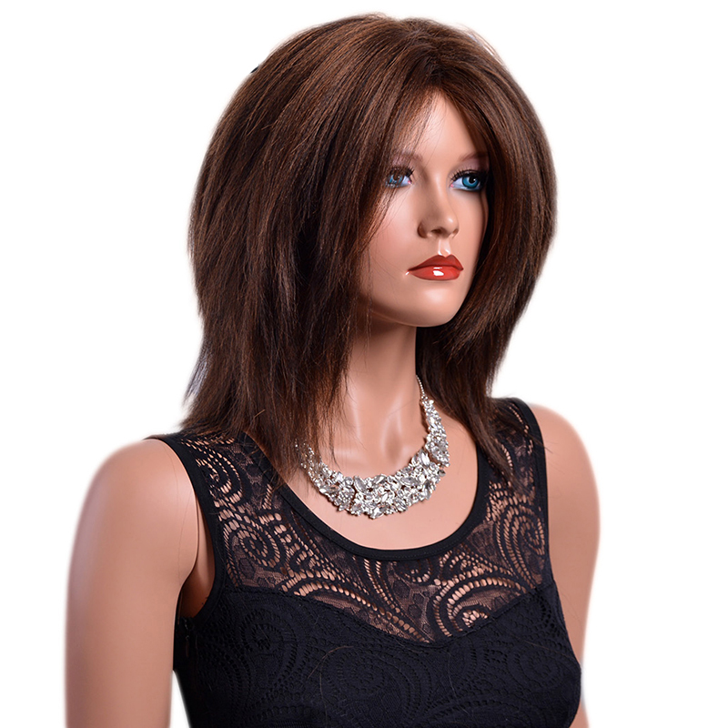 GAKA Women's Short Wig Ombre Color Yaki Straight Natural Brown Wigs Woman