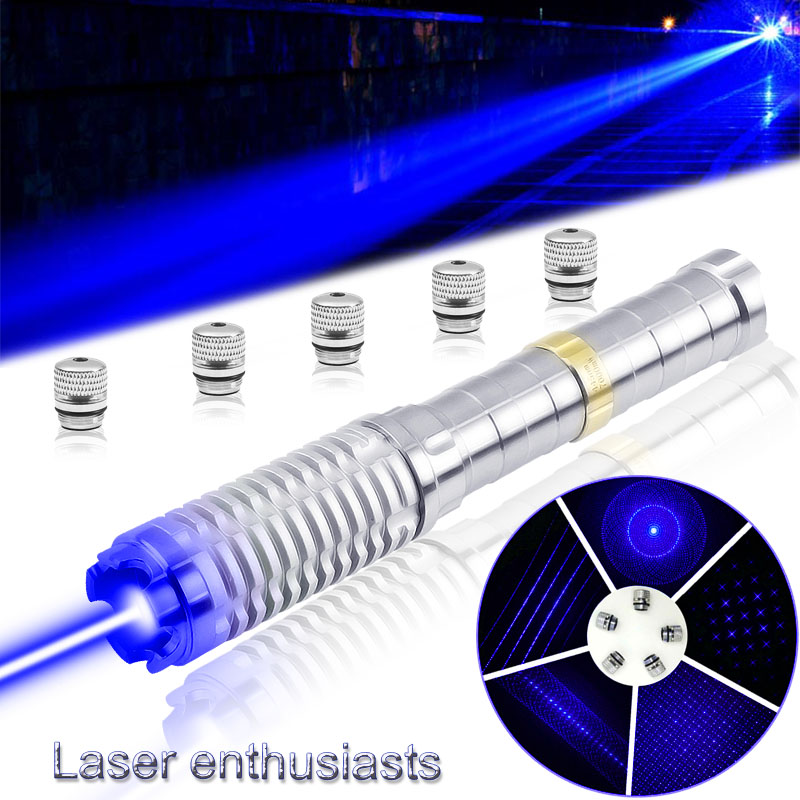 CWLASER Real Power 5000mW-7000mW Military 445nm Blue Burning Laser Pointer For Astronomy, Hunting, Hiking (Stainless)