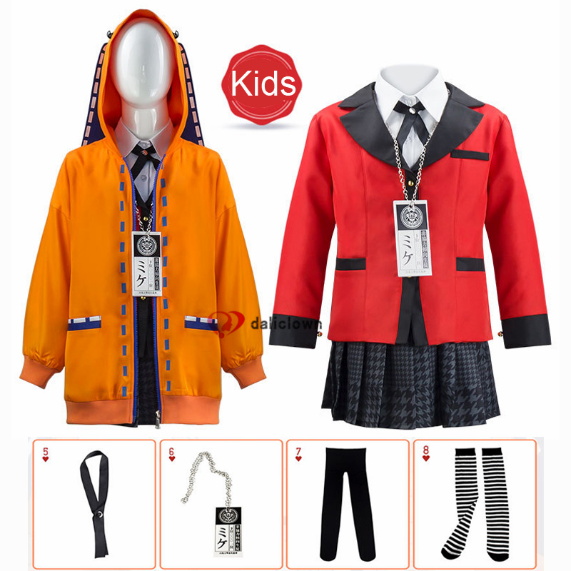 Kinder Anime Kakegurui Zwanghaften Gambler Rune Yomozuki Cosplay Kostüm Runa Hoodie Jabami Yumeko Uniform Mädchen Jacke Mantel
