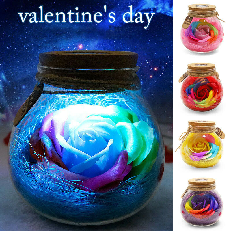 Romantic Light Valentine's Day Gift Led Bulb Rgb Dimmer Lamp Rose Flower Bottle With Remote Control For Mom Girl Birthday Gift image