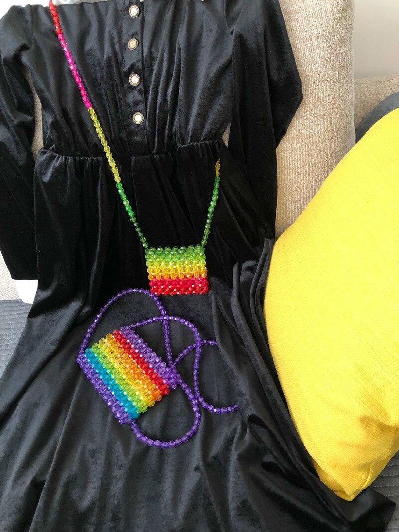 Beaded Rainbow Pearl and Colored Glaze Acrylic Handmade Crossbody Bag Small Satchel Women's Messenger Bag Rainbow-Colored